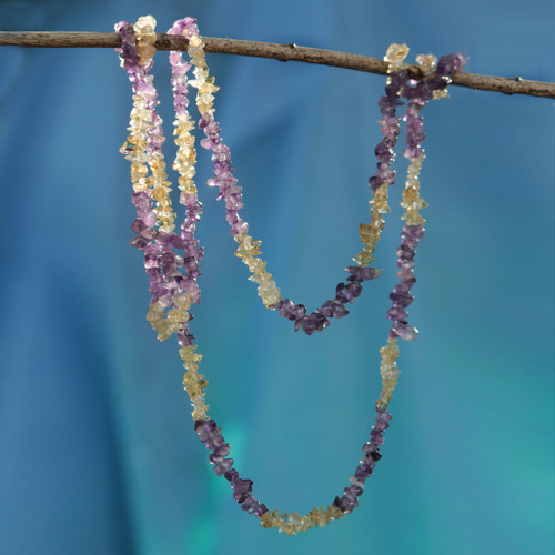 Artisan Crafted Long Amethyst and Citrine Necklace 'Carioca Mystique'