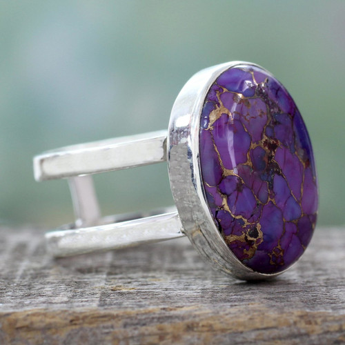 Purple Composite Turquoise Sterling Silver Ring 'Purple Island'