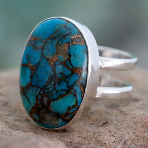 Blue Composite Turquoise Sterling Silver Ring 'Blue Island'