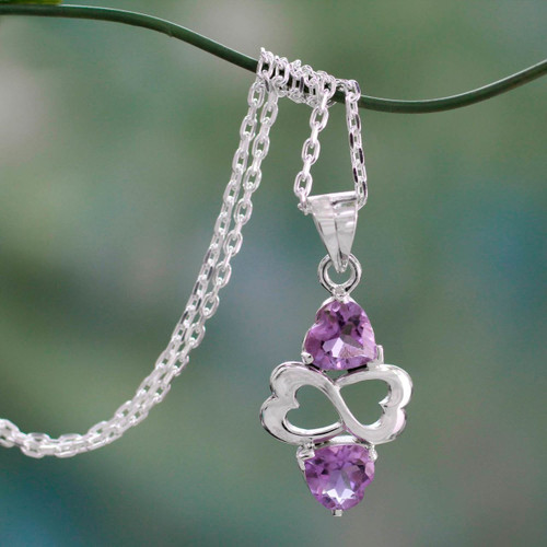 Amethyst and Sterling Silver Heart Necklace 'Spiritual Love'