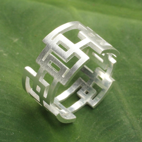 Thai Artisan Crafted Sterling Silver Band Ring 'Open Windows'