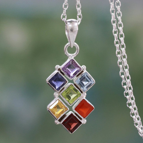 Multi Gemstone Sterling Silver Necklace Chakra Jewelry 'Wellness'
