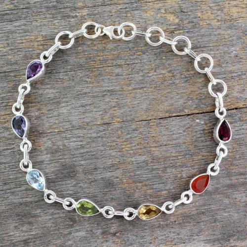 Sterling Silver Bracelet Multi Gemstone Chakra Jewelry 'Inner Glow'