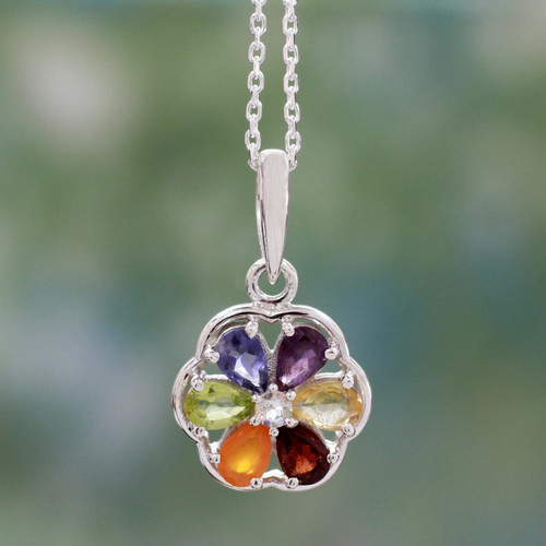Floral Chakra Jewelry Multi Gem Necklace 'Energy Bloom'