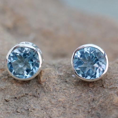 Blue Topaz Stud Earrings Sterling Silver Jewelry 'Spark of Life'