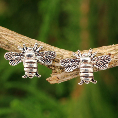 Honeybee Sterling Silver Stud Earrings 'Happy Honeybee'