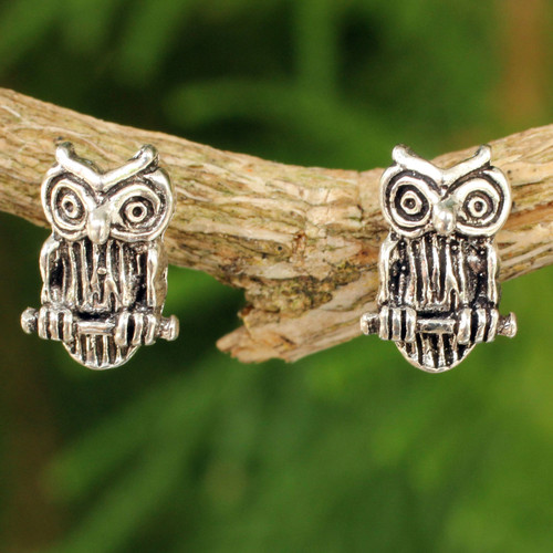 Silver Bird Theme Earrings 'Wise Little Owl'
