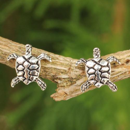 Sterling Silver Button Earrings 'Baby Sea Turtle'