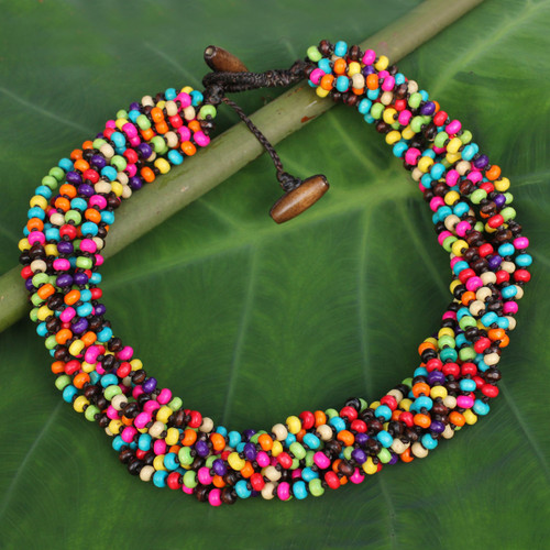 Multicolor Wood Beaded Artisan Crafted Necklace 'Trang Belle'