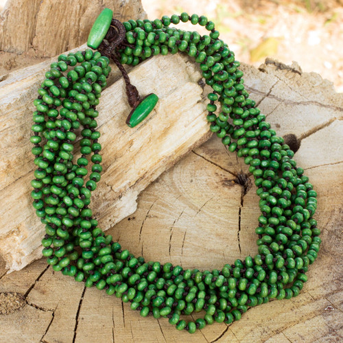 Fair Trade Artisan Crafted Wood Torsade Necklace 'Khao Luang Belle'