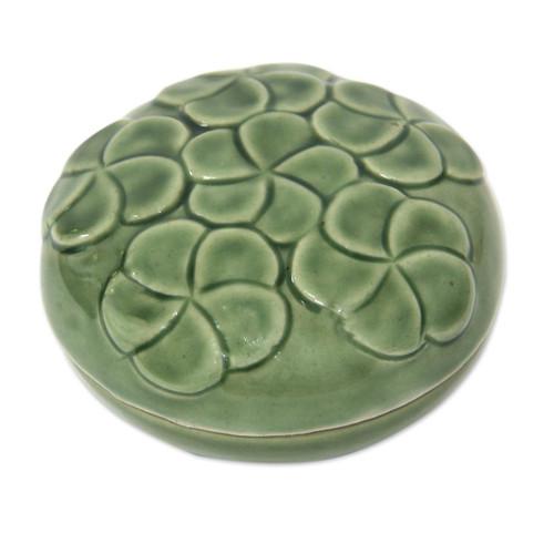Handcrafted Ceramic Mini-Box 'Plumeria Bouquet'