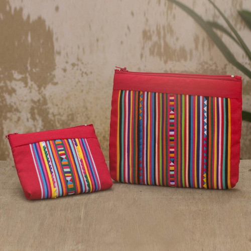 Cotton Blend Cosmetic Bags with Hill Tribe Applique (pair) 'Lisu Fire'