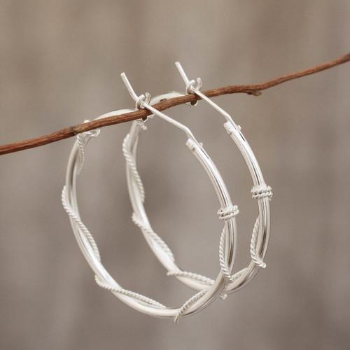 Modern Handmade Sterling Silver Hoop Earrings 'Goddess of Health'