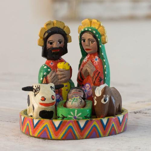Petite 7 Piece Carved Wood Nativity Scene 'Petite Christmas'