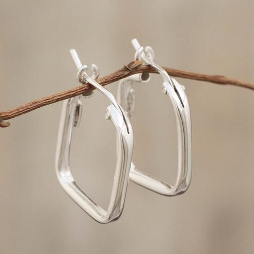Sterling Silver Squared Modern Hoop Earrings 'Goddess of the Lakes'