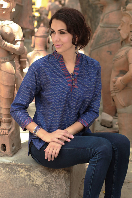 Blue Ikat Handwoven Cotton Tunic 'Whispering Rain'