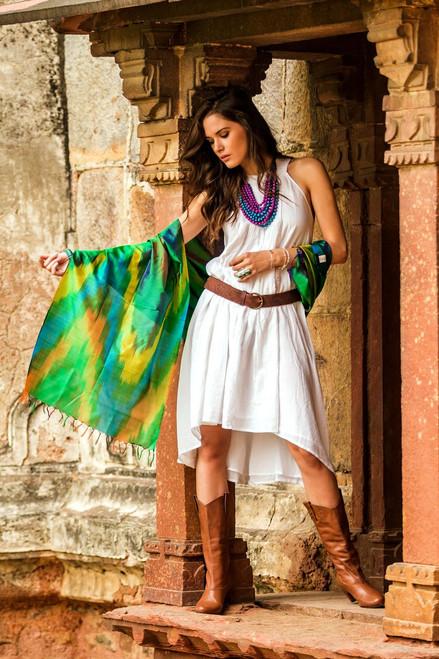 Tie Dye Blue and Green Varanasi Silk Shawl 'Cool Color Fusion'