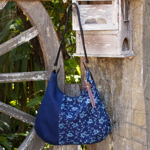 Fair Trade Leather Accent Blue Cotton Hobo Bag 'Sea of Flowers'