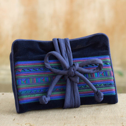 Artisan Crafted Hill Tribe Applique Jewelry Roll 'Lisu Sapphire Fantasy'