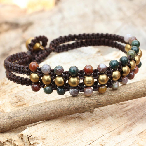 Jasper and Brass Wristband Bracelet 'Colors of Joy'