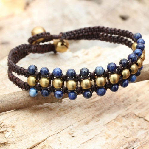 Lapis Lazuli and Brass Wristband Bracelet 'Blue Joy'