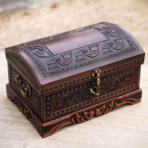 Dark Brown Leather Jewelry Chest from Peru 'Dark Inca Sea'