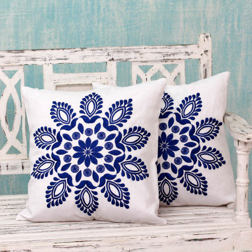 Blue and White Embroidered Floral Cushion Covers (Pair) 'Blue Delhi Splendor'
