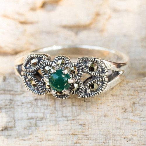 Thai Marcasite and Green Agate Cocktail Ring 'Verdant Bud'