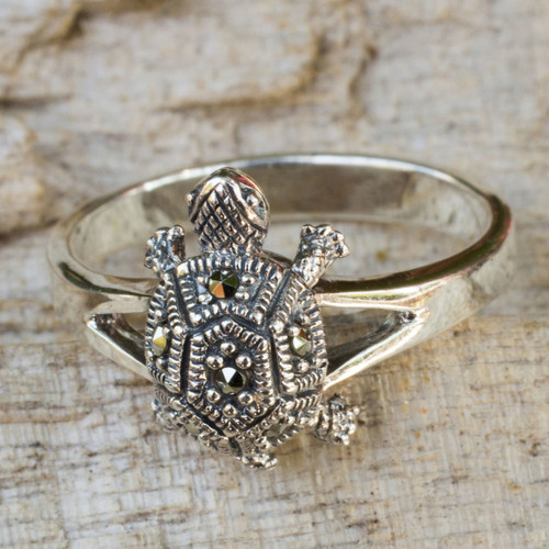 Fair Trade Thai Marcasite Turtle Ring 'Happy Thai Turtle'