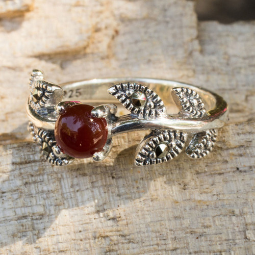 Thai Marcasite and Chalcedony Cocktail Ring 'Wine Berry'