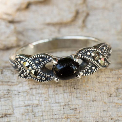 Thai Marcasite and Onyx Cocktail Ring 'At Midnight'