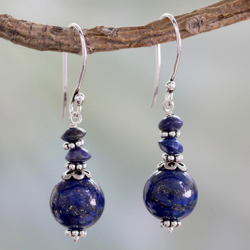Fair Trade Lapis Lazuli Handcrafted Earrings 'Chakra Universe'