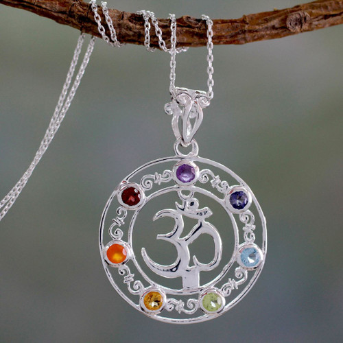 6.3 Cts Multi-gemstone Medallion Necklace 'Om Magnificence'