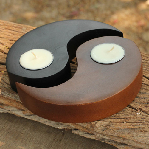 Hand-carved Wood Tealight Candleholders (pair) 'Light of Yin Yang'