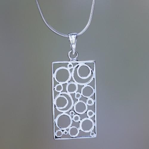 Balinese Silver Pendant Necklace 'Sea Foam'