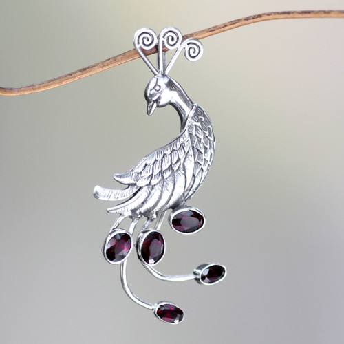Silver Bird Brooch Pin-Pendant with Garnets 'Peahen in Love'