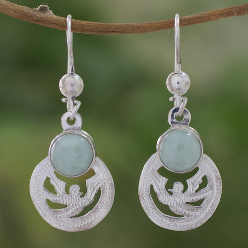 Fair Trade Jewelry Jade and Sterling Silver Earrings 'Quetzal Patriot'