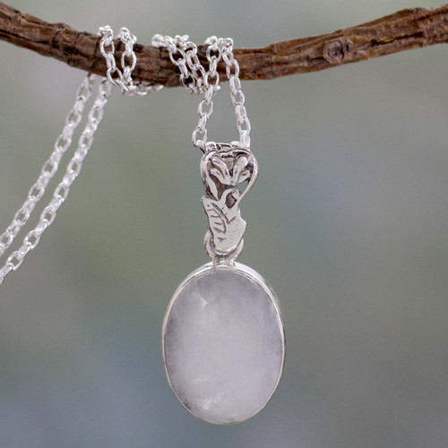 Artisan Made Silver and Rainbow Moonstone Necklace 'Radiant Facets'
