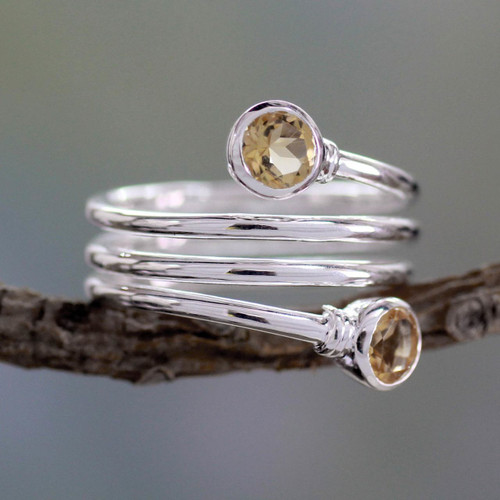 Citrine Wrap Ring Crafted in Sterling Silver 'Magic Spiral'