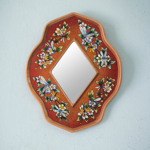 Handmade Floral and Dragonflies Reverse Painted Glass Mirror 'Orange Summer Garden'