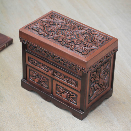 Bird Theme Hand Tooled Brown Leather Jewelry Box 'Avian Haven'