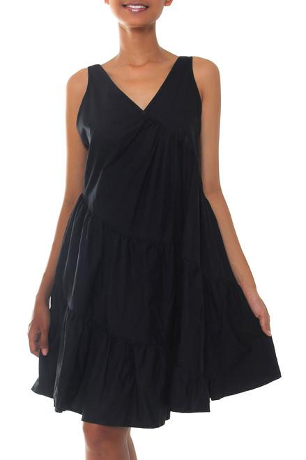 bcef35fe78c1 Balinese Black Cotton Knee Length Sundress  Balinese Night  - UNICEF ...