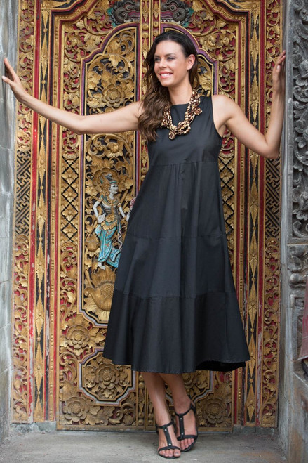 Classic Black Sleeveless Midi Cotton Dress from Bali 'Cool in Black'