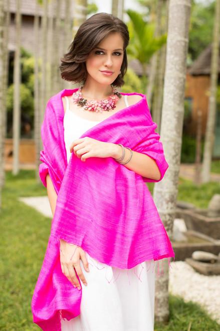 Hot Pink Silk Batik Shawl from Thailand 'Pink Lipstick'
