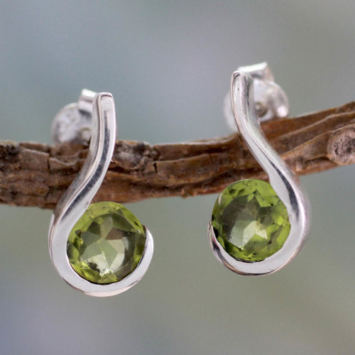 Women's Peridot Jewelry from India 'Lime Droplet'