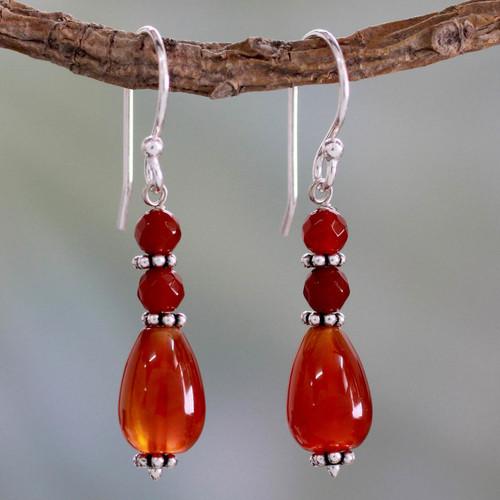 Fair Trade Artisan Crafted Carnelian Earrings 'Vibrant Jaipur'
