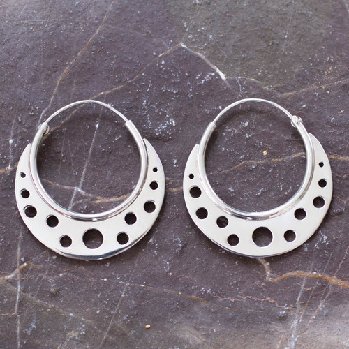 Taxco Silver Hoop Earrings 'Moon Landing'