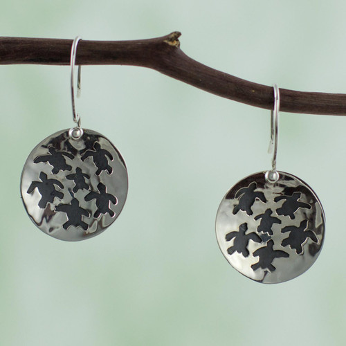 Taxco Silver Turtle Theme Earrings 'Save the Turtles'