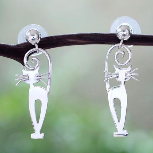 Taxco Silver Kitty Cat Earrings 'Taxco Cat'