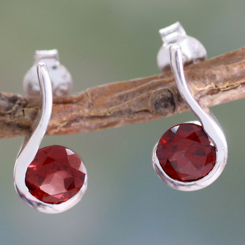 Garnet and Sterling Silver Indian Earrings 'Cherry Droplet'